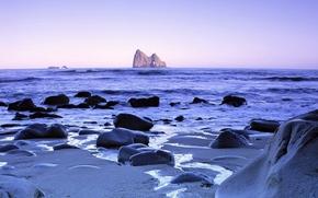landscape, sea, coast, coast, stones, waves, species, Beauty, sky, Color