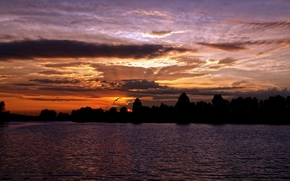 nature, landscape, evening, sunset, sky, pond, river