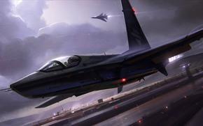 самолет, истребитель, ночь, гроза, взлет, аэродром, полоса, облака, огни