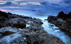 море, камни, закат