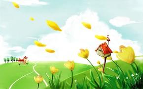 vero, nuvens, Flores, quadro, casa
