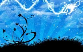 вектор, ангел, звезды