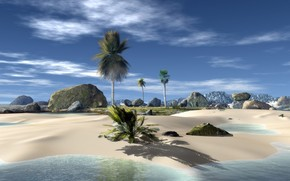 Rendering, Tropical Island, Palms, pedras