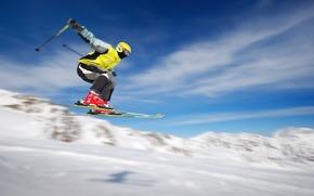 skieur, Sport, Extrme, vol, mouvement, neige