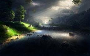 Fluss, Steine, Nacht