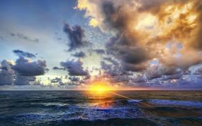 Naturaleza, paisaje, ocano, ondas, puesta del sol
