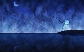 desen, pescar, lun