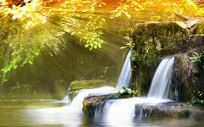 natura, acqua, foto, carta da parati, luce, raggi
