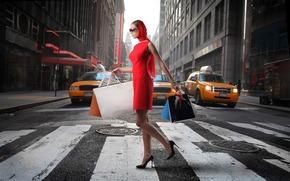 девушка, улица, пакеты, сумки, такси, город, переход, пешеходный, красный