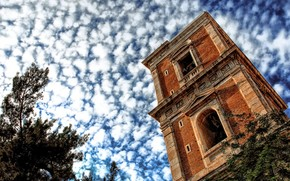 tower, clouds, sky