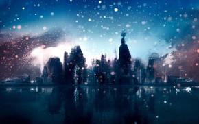草图, 城市, 雪