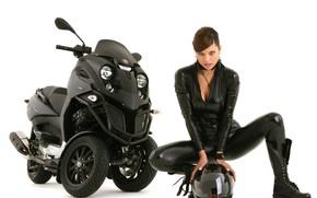 aunt, bike, helmet, leather
