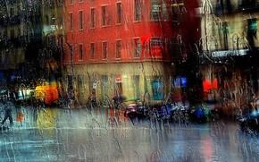 citt, vetro, pioggia, strada