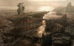 ship, aircraft carrier, destruction, City, Figure