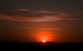 sun, sunset, evening
