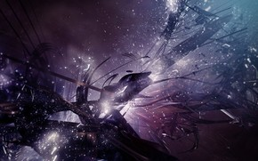 explosion, particles, dark
