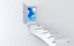лестница, небо, белый, дверь