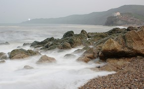 камни, берег, вода, горы, волны