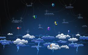 clouds, wire, elves, Lightning