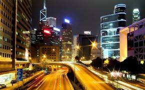route, Gratte-ciel, nuit, lumires, Hong-Kong