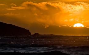закат, море, волны