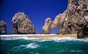 areia, rocha, ondas, mar