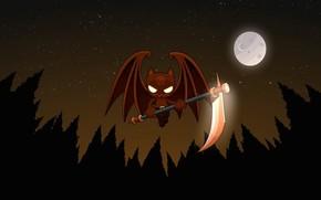 летучая мышь, коса, вампир, луна, ночь, вектор