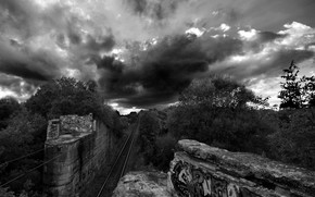iron, road, graffiti, black and white, clouds