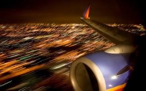 огни, самолет, крыло, ночь