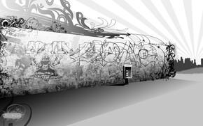 muro, graffiti, in bianco e nero, telefono