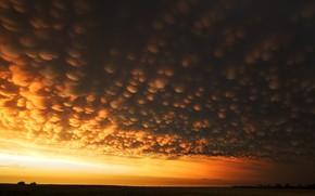 clouds, field, strange