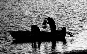 in bianco e nero, barca, persone, pesca, acqua