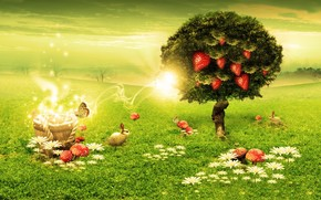 Green, tree, strawberry, mushrooms, rabbits