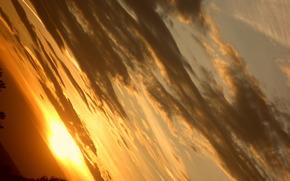 空, 雲, 夕日