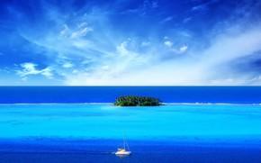 niebieski, morze, wyspa, d
