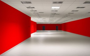 room, red, Wall, empty
