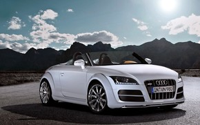 Audi, road, Mountains
