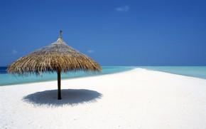 sky, water, sand, canopy, tropics