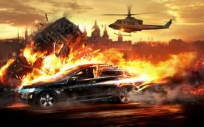 inseguimento, elicottero, fuoco