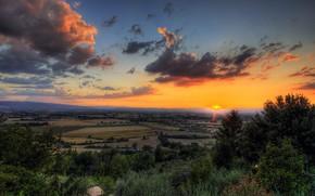 las nubes, campo, puesta del sol, Los rboles
