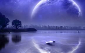 озеро, планета, бутылка