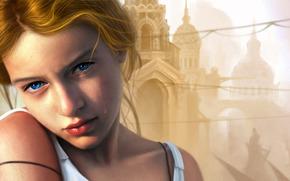 Art, girl, tear, city, Temples, dome