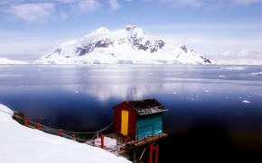 горы, домик, снег