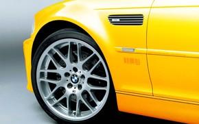 BMW, jaune, roue