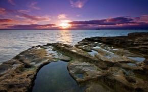 stones, water, sunset