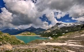 Montagne, nuvole, neve, lago
