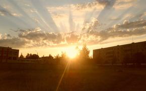 ホーム, 夕日, 太陽