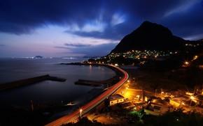 road, night, Lights