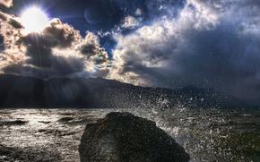 spray, sky, stone
