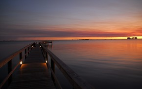 nature, landscape, sea, sunset, pier, sky, photo, picture, wallpaper